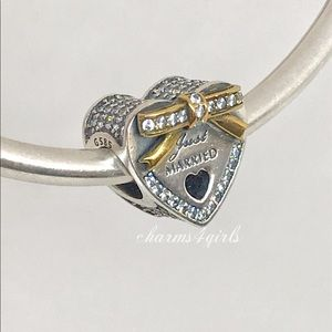 Pandora Wedding heart charm just married